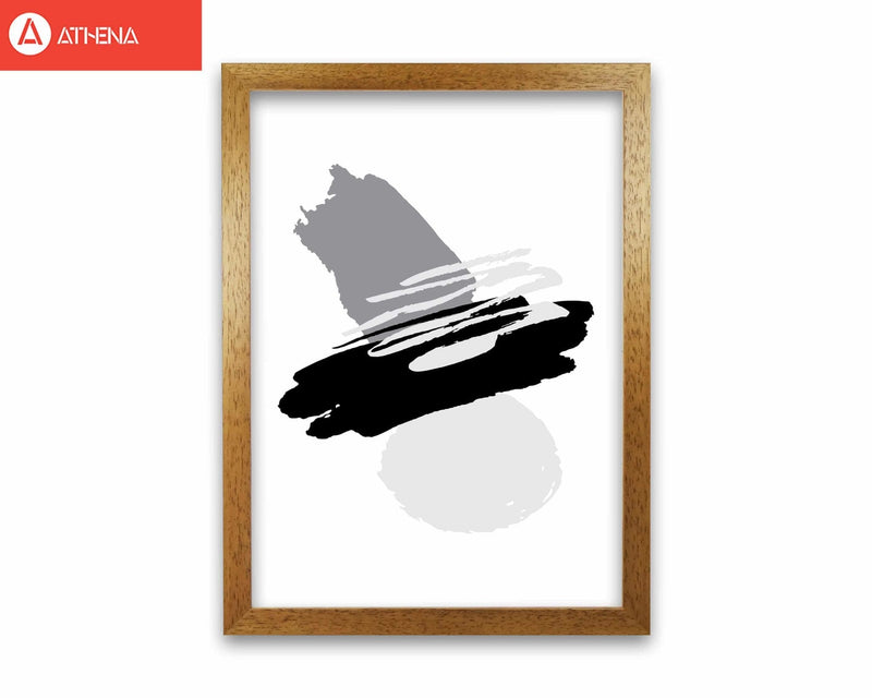 Black and grey abstract paint shapes modern fine art print