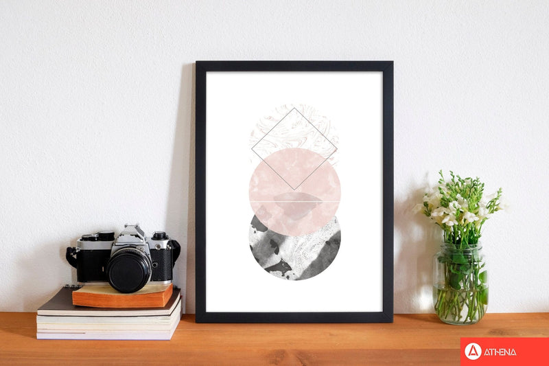 Black and pink marble abstract circles modern fine art print
