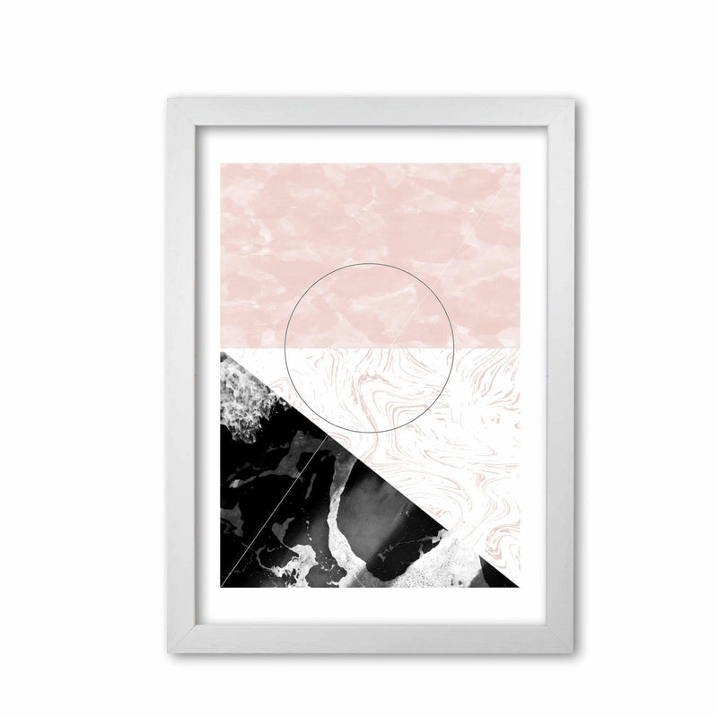 Black and pink marble abstract rectangle shapes modern fine art print