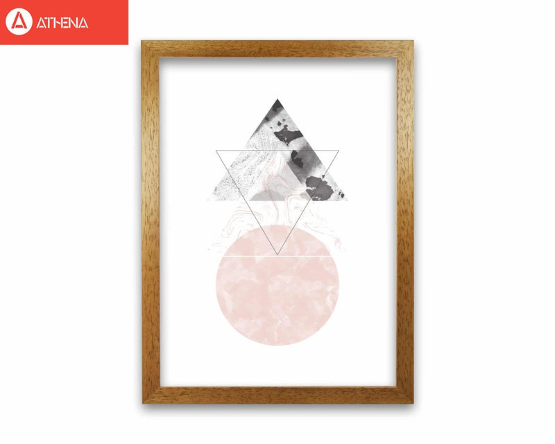 Black and pink marble abstract triangle and circle modern fine art print