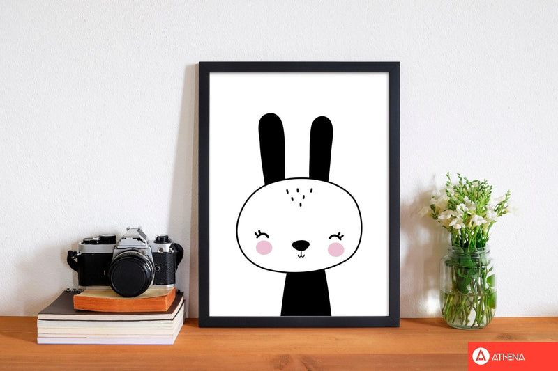 Black and white scandi bunny modern fine art print