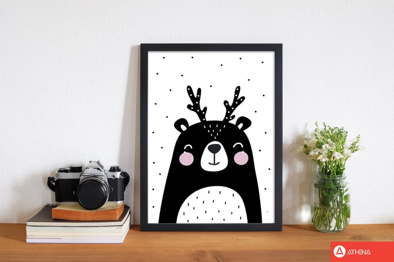 Black bear with antlers modern fine art print