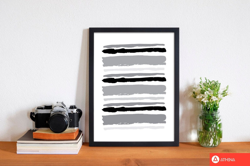 Black contrast abstract stripes modern fine art print
