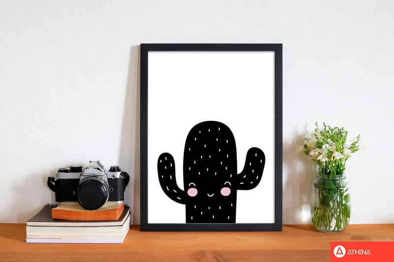 Black scandi cactus modern fine art print, framed botanical &