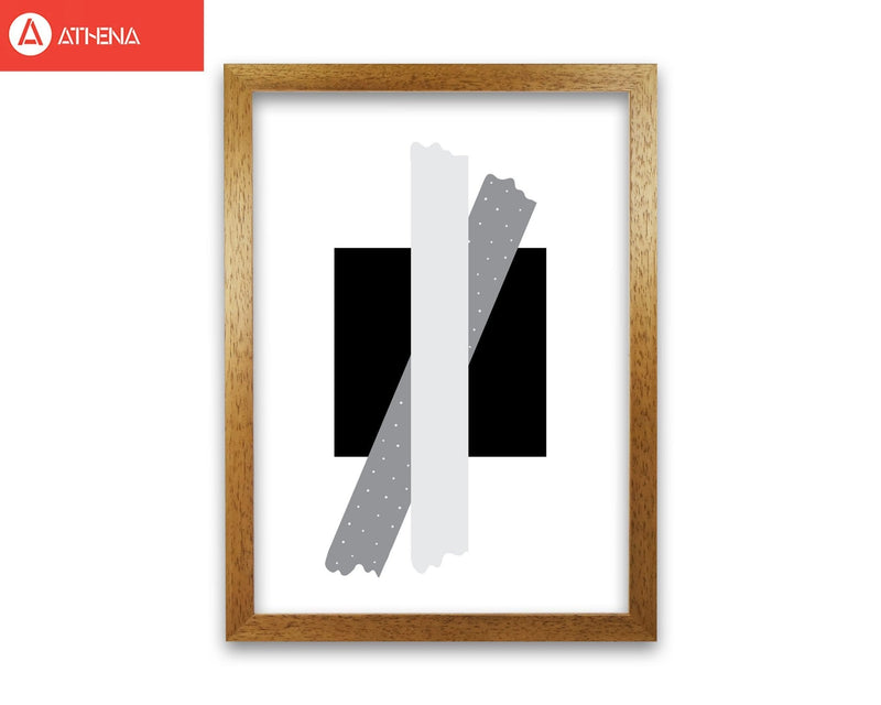 Black square with grey bow abstract modern fine art print
