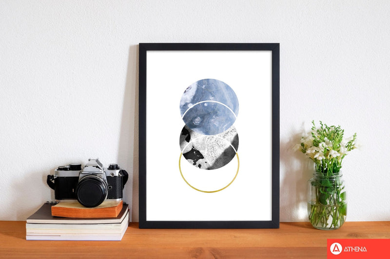 Blue and gold abstract circles modern fine art print