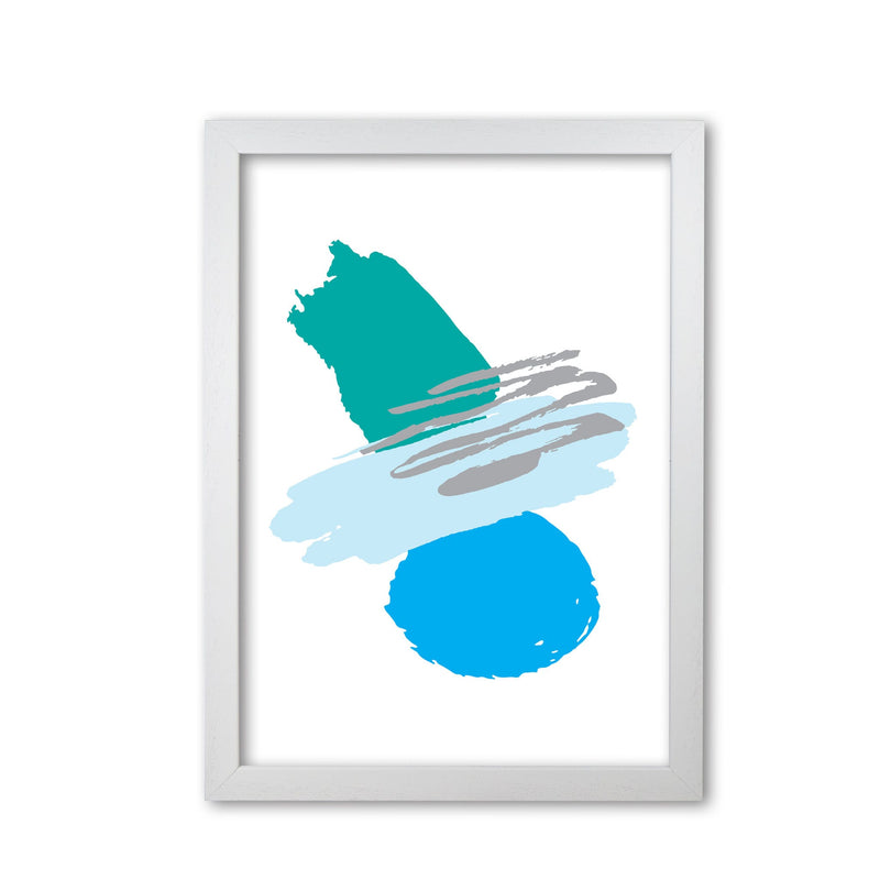 Blue and teal abstract paint shapes modern fine art print