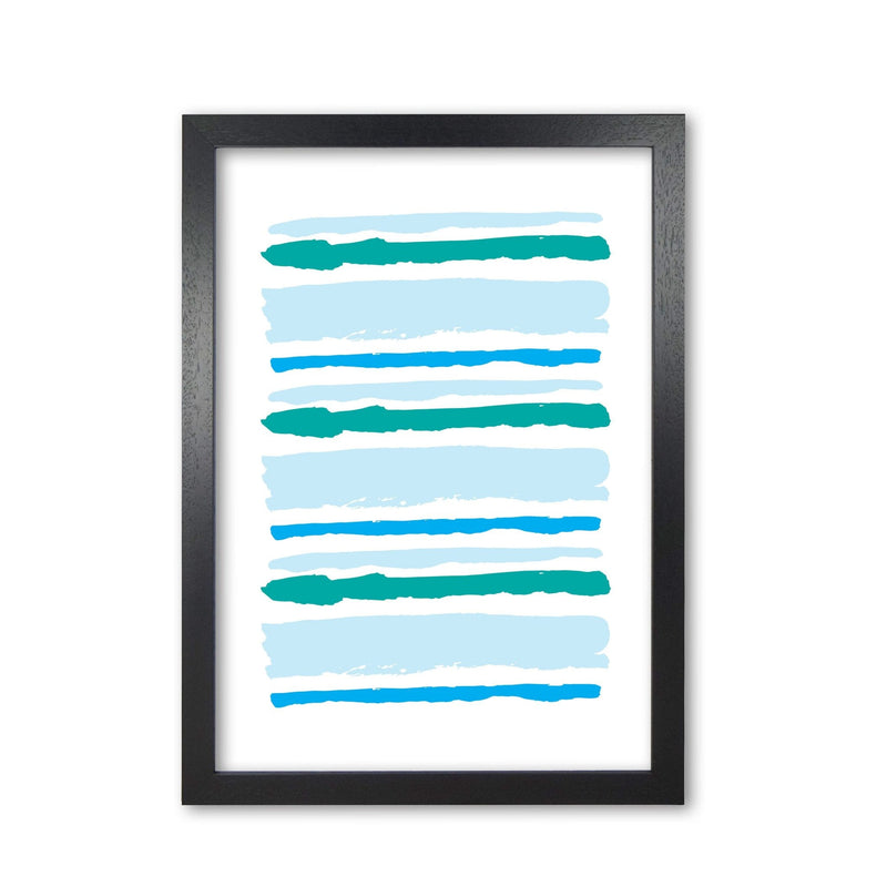 Blue contrast abstract stripes modern fine art print