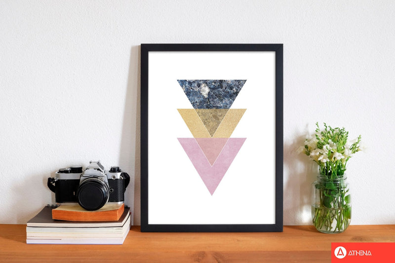 Blue, gold and pink abstract triangles modern fine art print