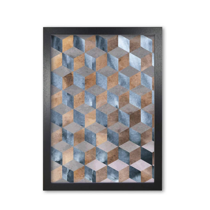 Blue, grey and brown abstract watercolour box modern fine art print
