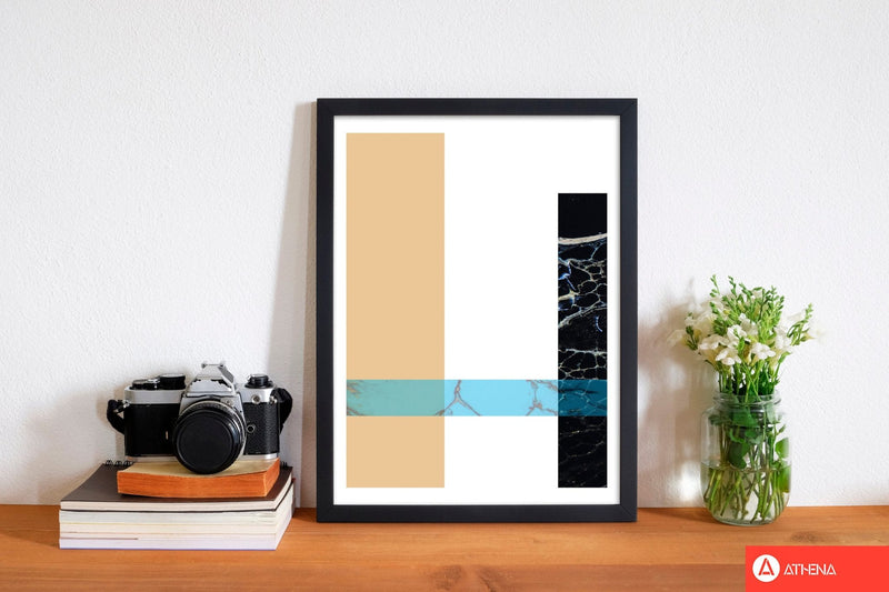 Blue sand abstract rectangles modern fine art print