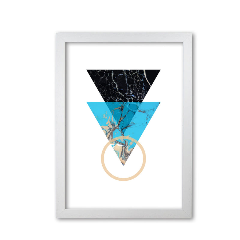 Blue sand abstract triangles modern fine art print