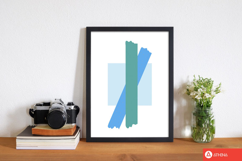 Blue square with blue and teal bow abstract modern fine art print