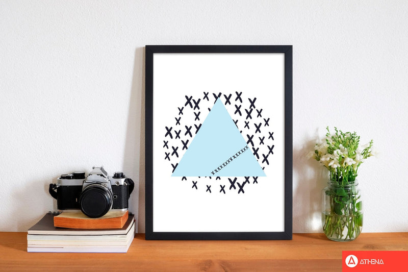 Blue triangle with crosses abstract modern fine art print