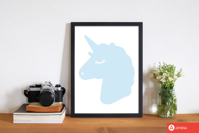 Blue unicorn head modern fine art print