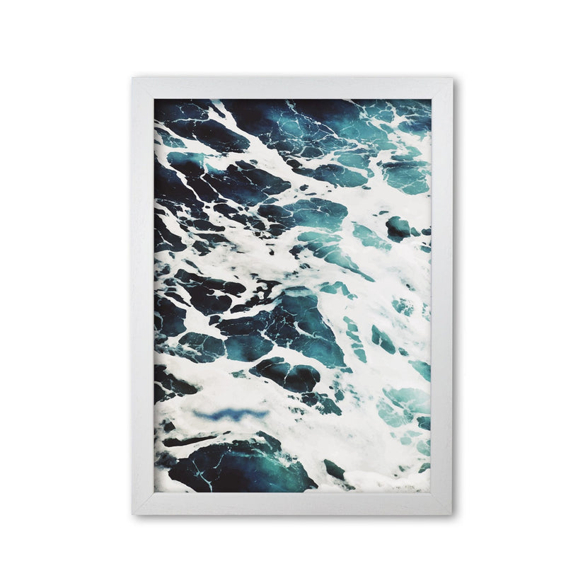 Blue white water modern fine art print, framed botanical &