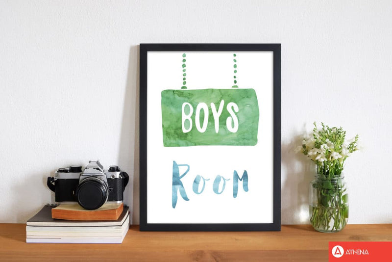 Boys room watercolour modern fine art print, framed childrens nursey wall art poster