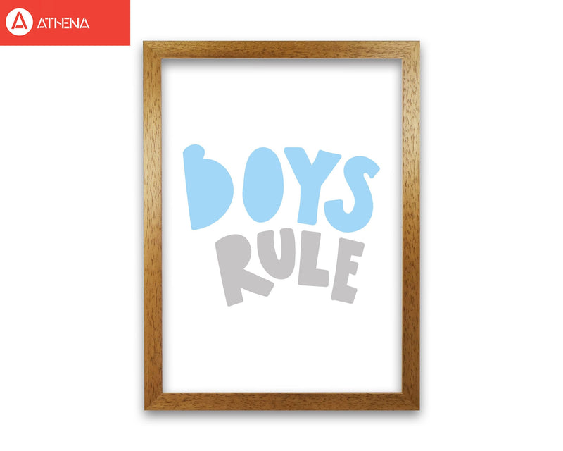Boys rule grey and light blue modern fine art print, framed typography wall art