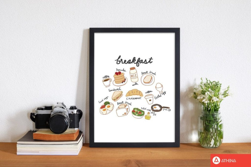 Breakfast collection portrait modern fine art print, framed kitchen wall art