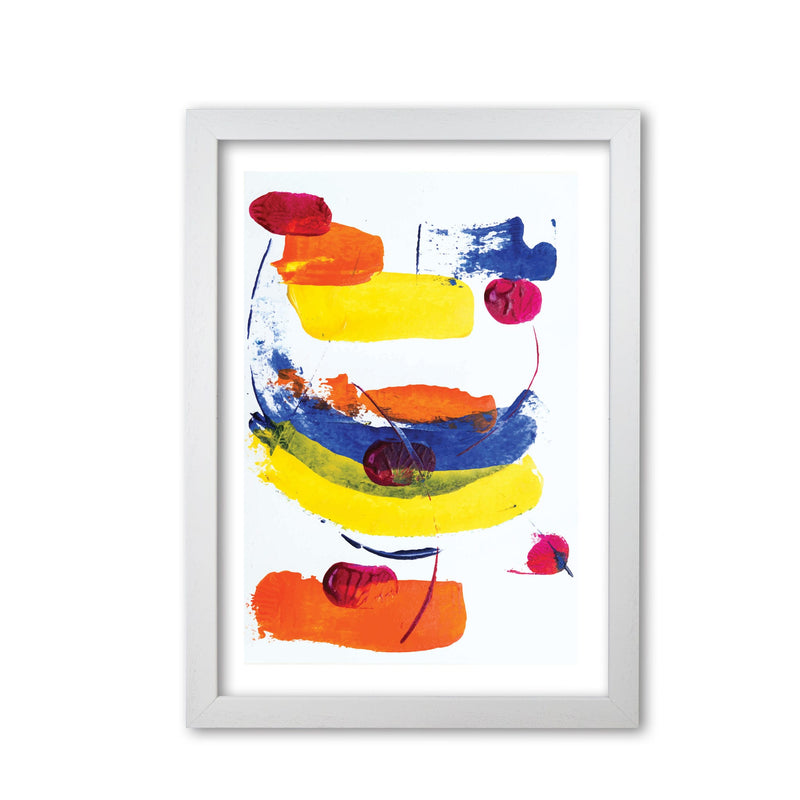 Bright yellow, blue and red abstract paint strokes modern fine art print