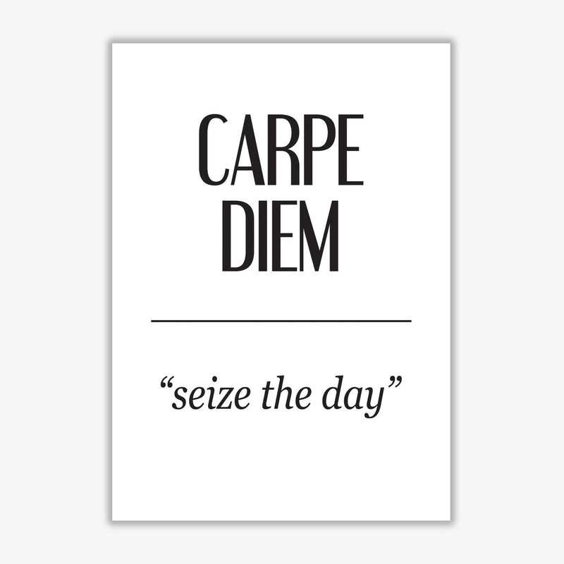 Carpe diem modern fine art print, framed typography wall art