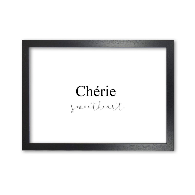 Chérie modern fine art print, framed typography wall art