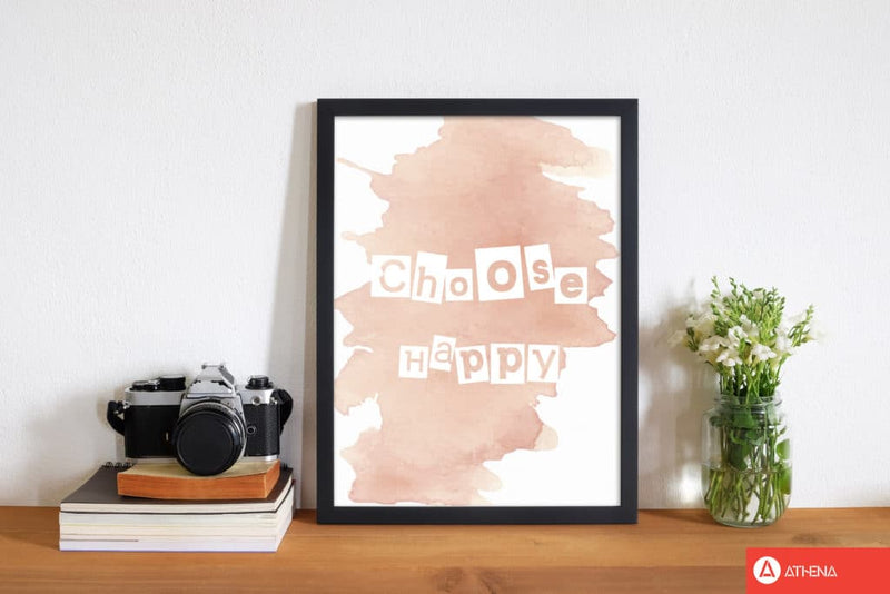 Choose happy peach watercolour modern fine art print