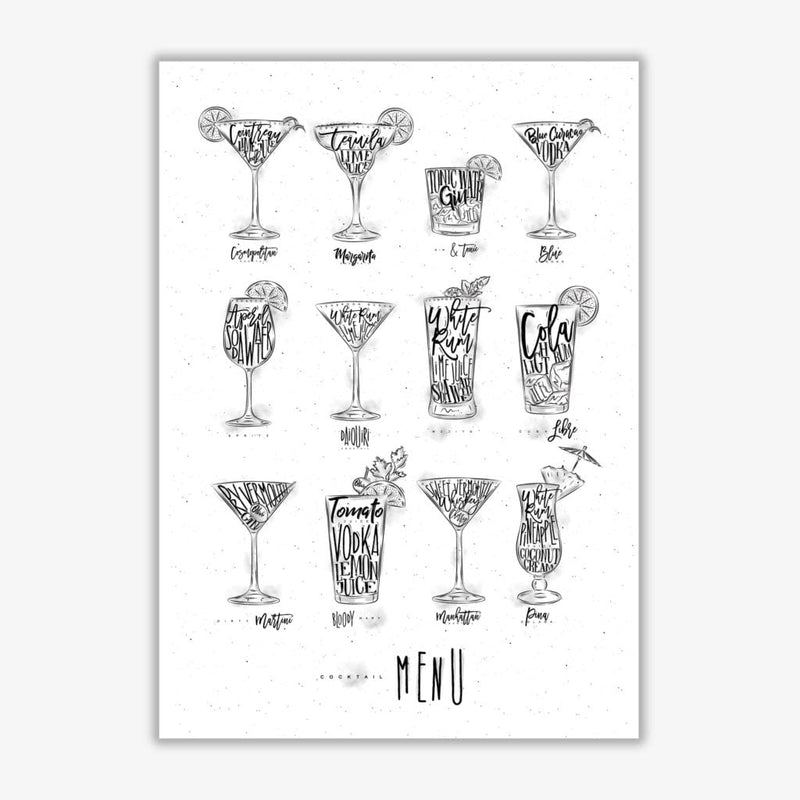 Cocktails menu modern fine art print, framed kitchen wall art