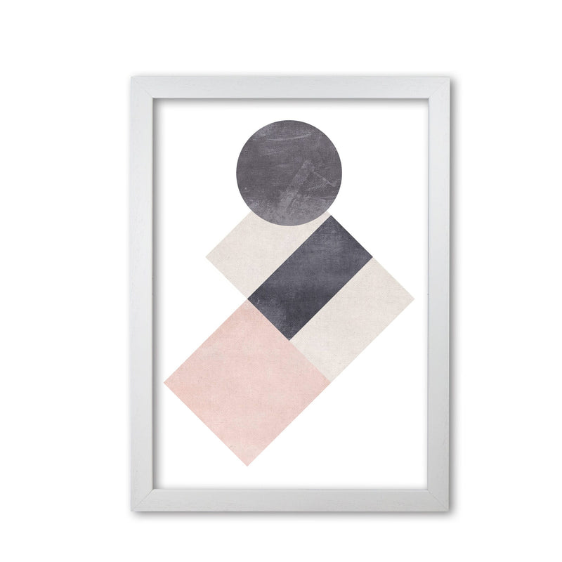 Cotton, pink and grey abstract squares and circle modern fine art print