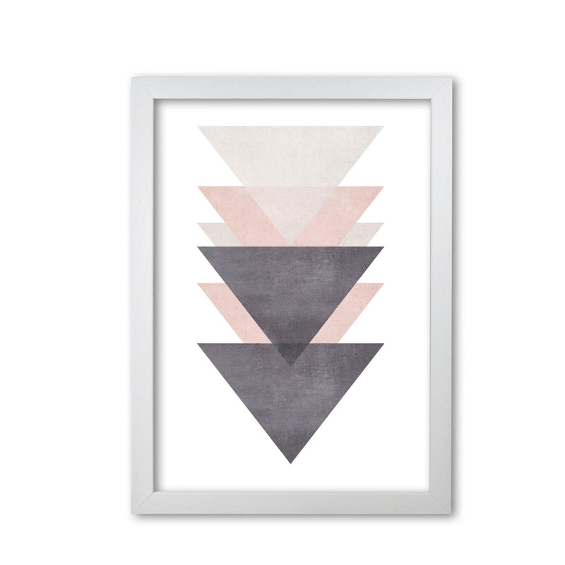 Cotton, pink and grey abstract triangles modern fine art print