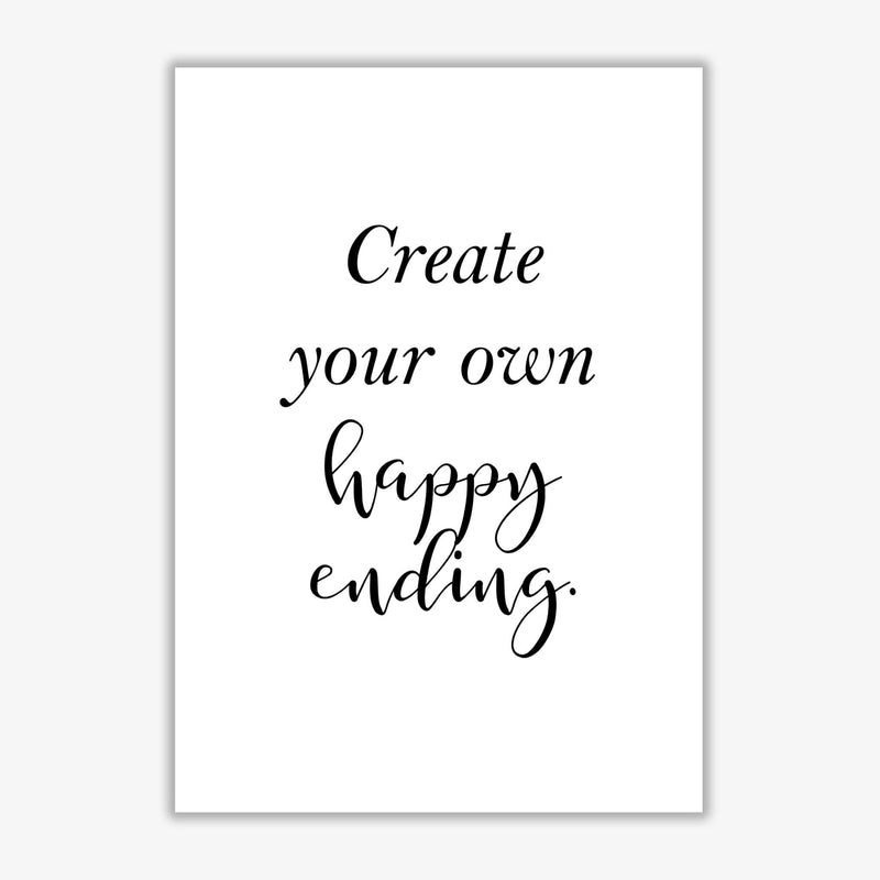 Create your own happy ending modern fine art print, framed typography wall art