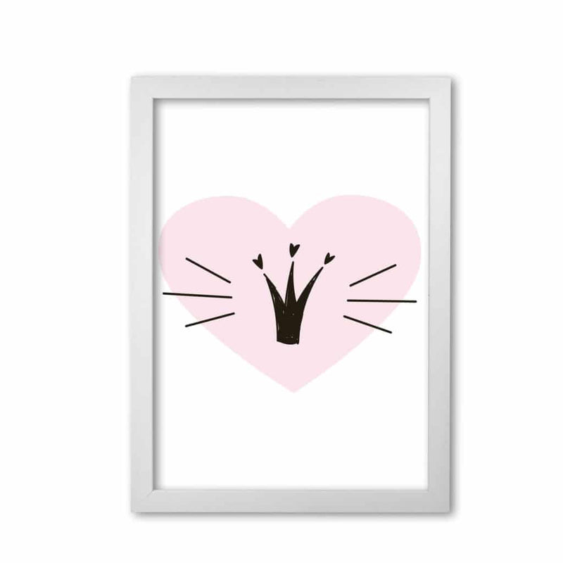 Crown with pink heart modern fine art print, framed childrens nursey wall art poster