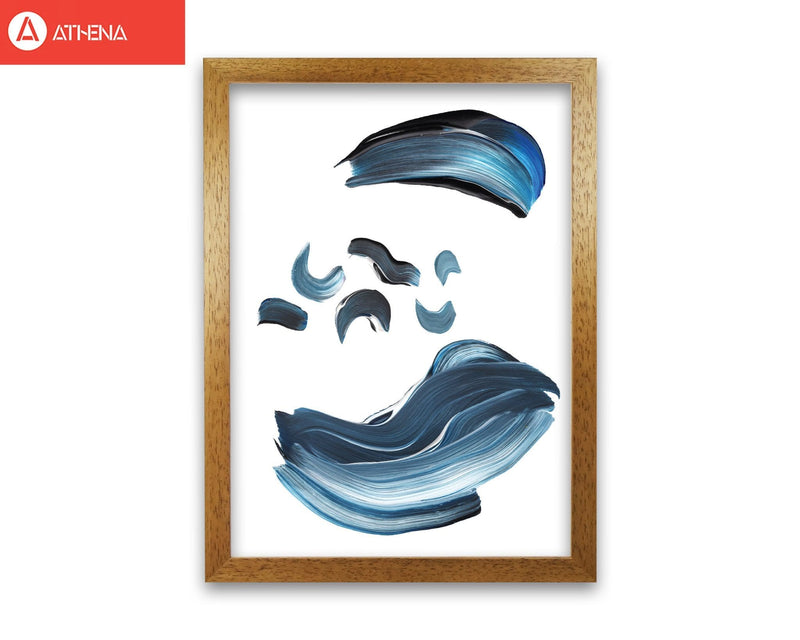 Dark blue and grey abstract paint strokes modern fine art print