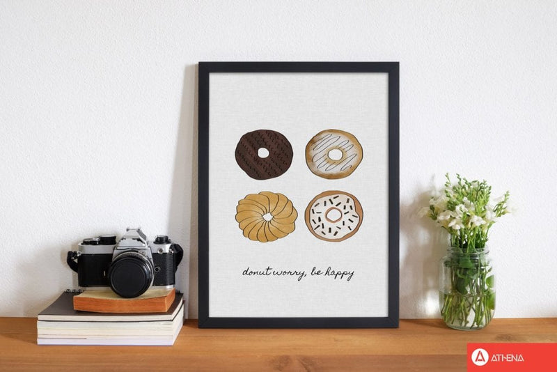 Donut worry fine art print by orara studio, framed kitchen wall art