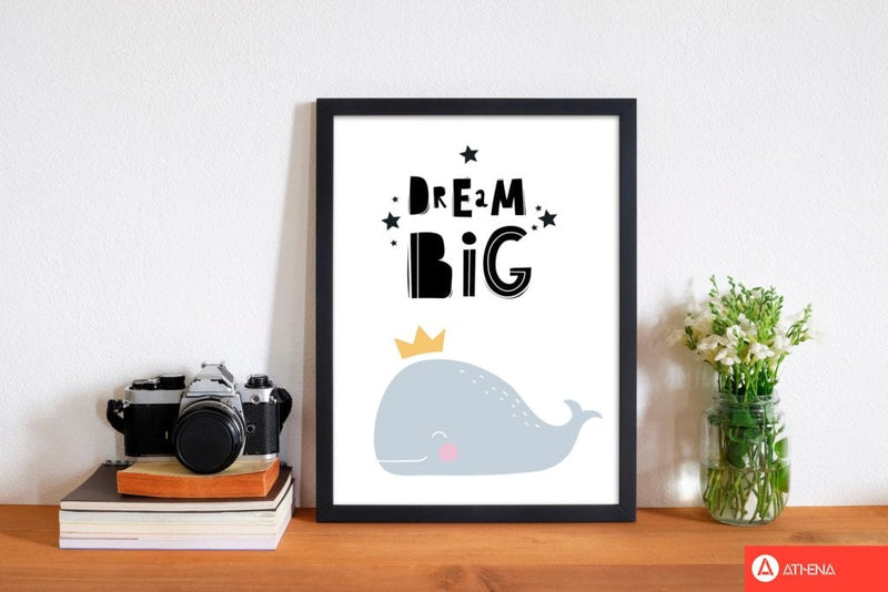 Dream big whale modern fine art print, framed childrens nursey wall art poster