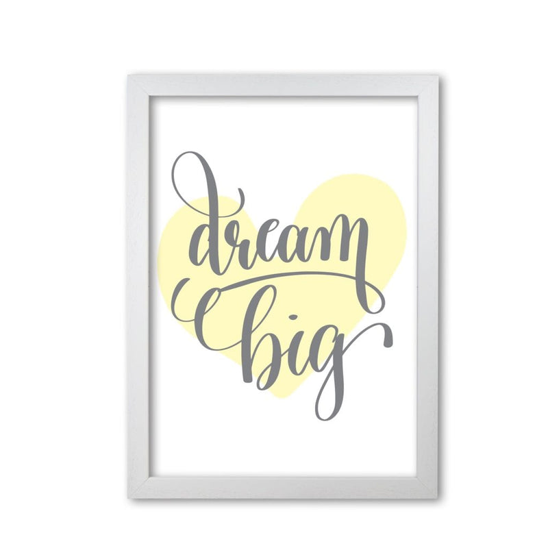 Dream big yellow heart modern fine art print, framed childrens nursey wall art poster