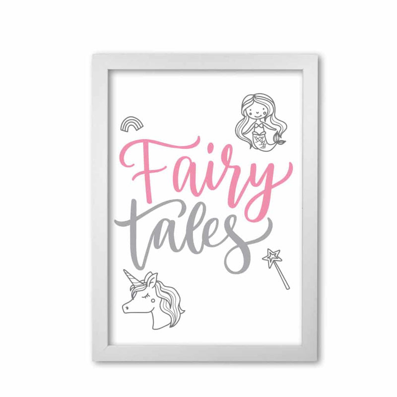 Fairy tales pink and grey modern fine art print, framed childrens nursey wall art poster