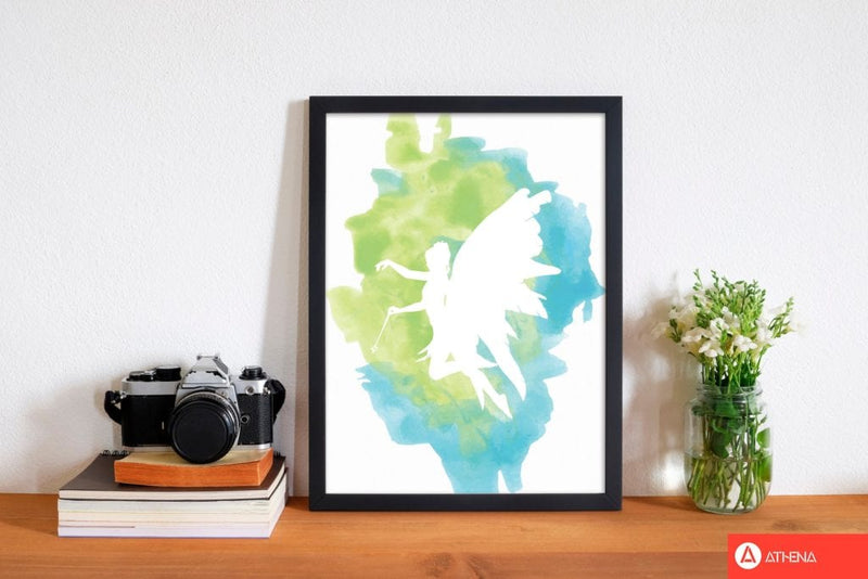 Fairy turquoise multi watercolour modern fine art print