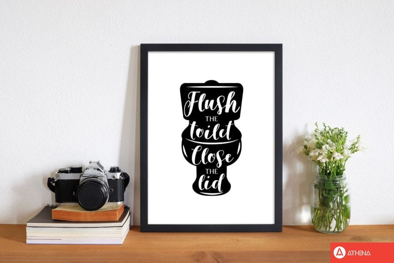Flush the toilet, bathroom modern fine art print, framed bathroom wall art