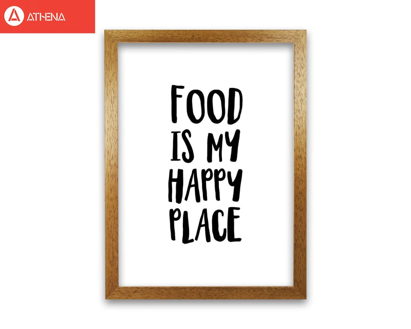 Food is my happy place modern fine art print, framed typography wall art