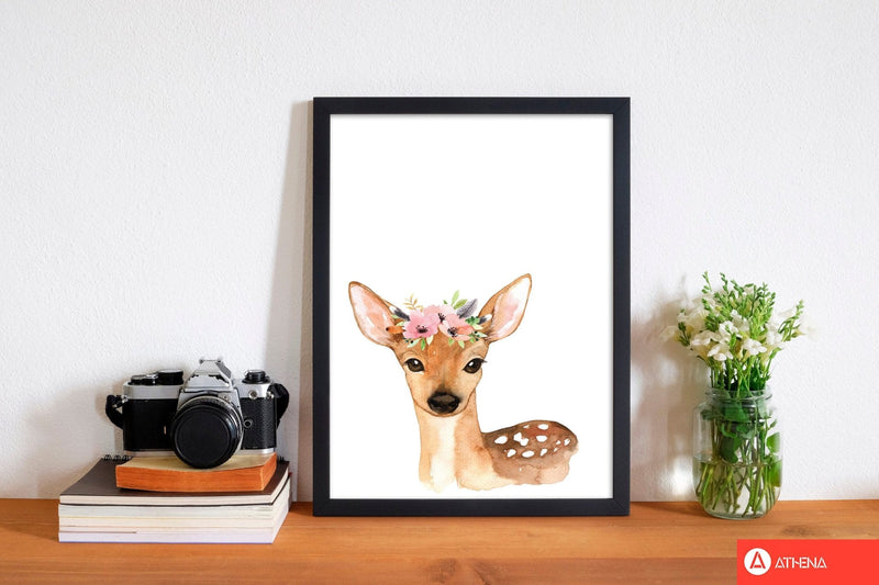 Forest friends, floral cute deer modern fine art print