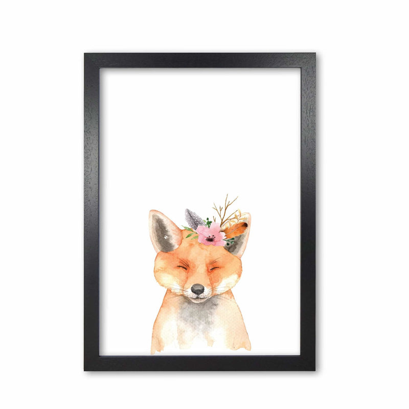 Forest friends, floral cute fox modern fine art print