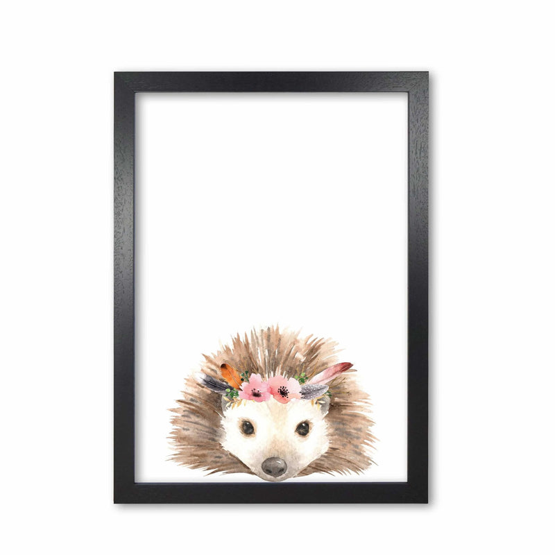 Forest friends, floral cute hedgehog modern fine art print