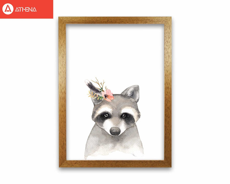 Forest friends, floral cute raccoon modern fine art print