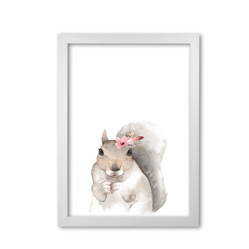 Forest friends, floral cute squirrel modern fine art print