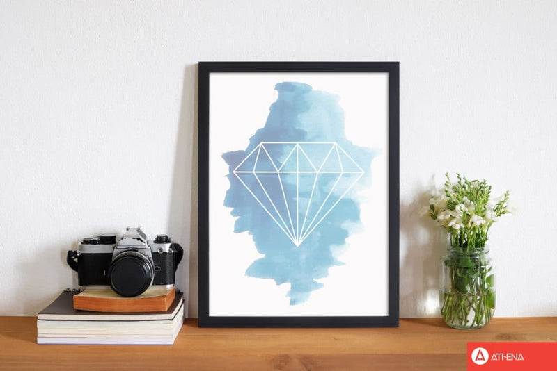 Geo diamond blue watercolour modern fine art print