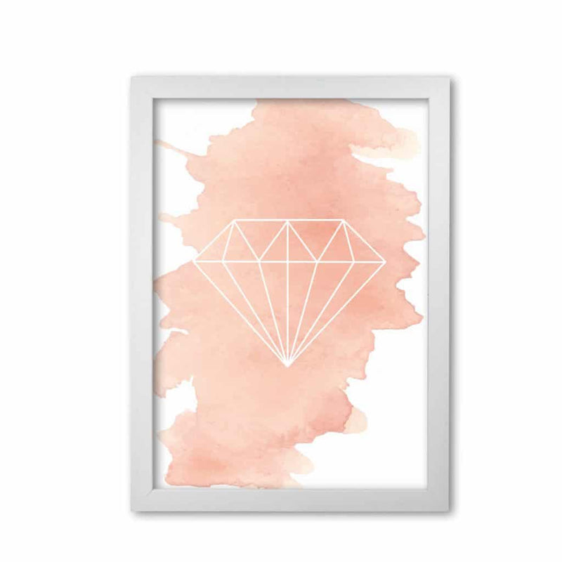 Geo diamond peach watercolour modern fine art print