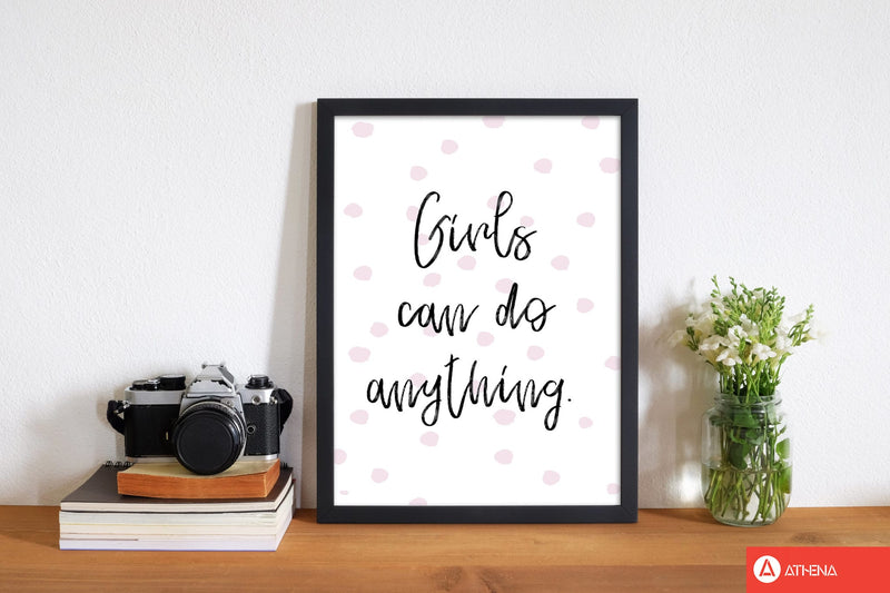 Girls can do anything pink polka dots modern fine art print, framed typography wall art