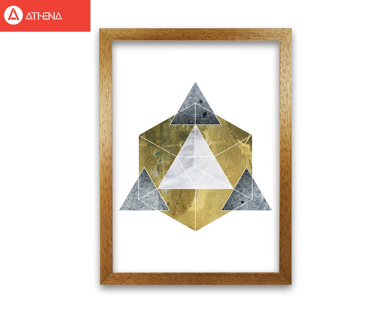 Gold cube and grey geo abstract modern fine art print