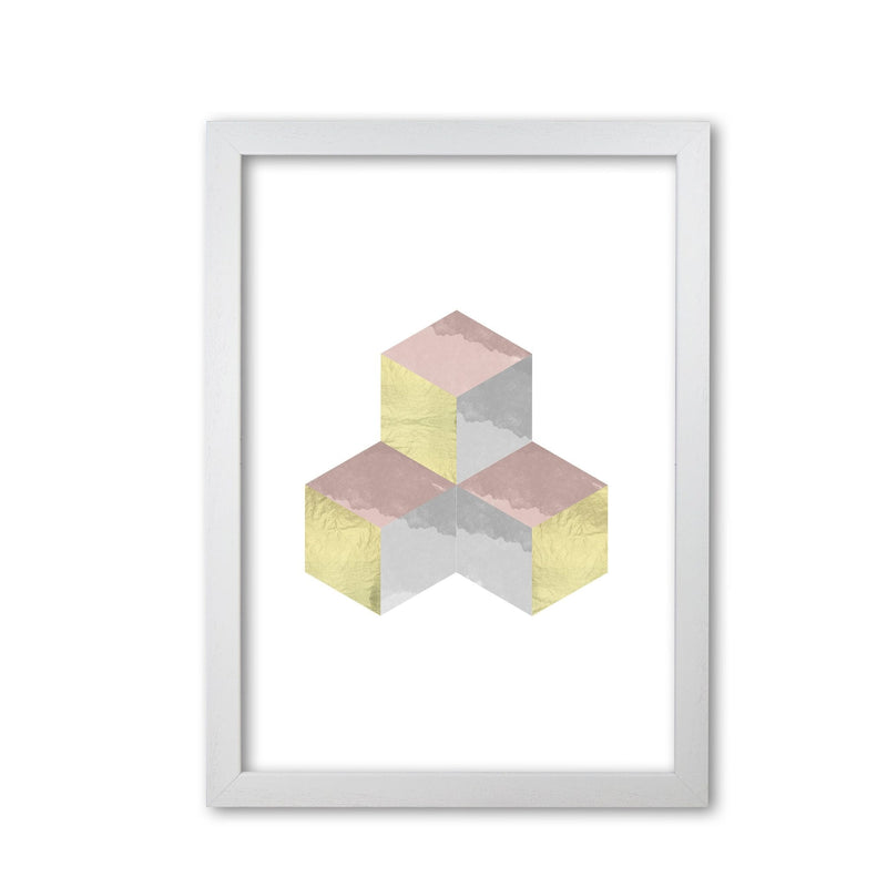 Gold, pink and grey abstract cubes modern fine art print